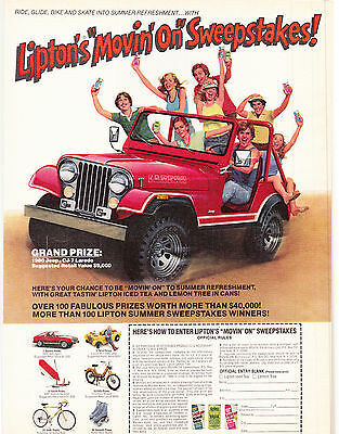 Original Print Ad-1980 Lipton's Movin On Sweepstakes-GRAND PRIZE JEEP CJ7 LAREDO