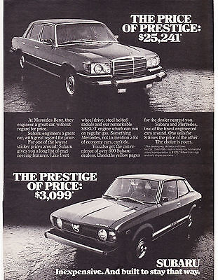 Original Print Ad-1978 MERCEDES/SUBARU-Price of Prestige/Prestige of Price-$3099