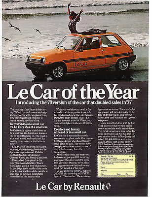 Original Print Ad-1978 Le Car of the Year by RENAULT-Woman Out Sunroof on Beach