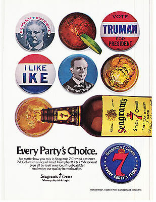 Original Print Ad-1980 SEAGRAM'S 7 CROWN-Every Party's Choice-Political Buttons