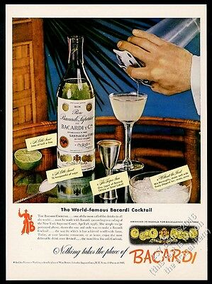 1943 Bacardi Cuba Cuban Rum bottle photo and cocktail recipe vintage print ad