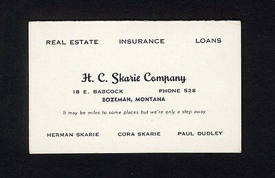 Car License Plate Number List of MONTANA Bozeman Real Estate 1950 Business Card
