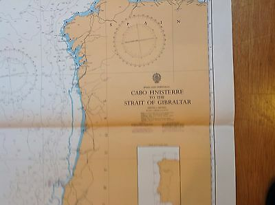 VINTAGE ADMIRALTY CHART-Cabo Finisterre To Strait Of Gibraltar Copyright 1972