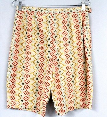 "Vtg Shorts 1950s Women's Girls Southwest Pattern Cotton Side Zip 28"" waist"