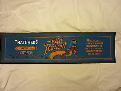Thatchers Cider Old Rascal Fox Large Bar Towel /  Runner Rubber Backed Mancave