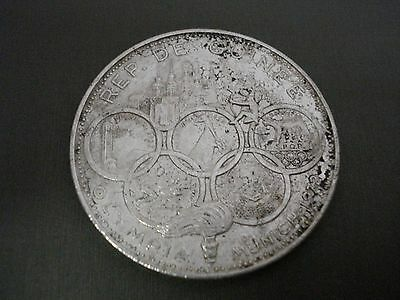 1969 Guinea 500 Francs Silver Coin- Munich Olympics Heavily Cleaned  #l6
