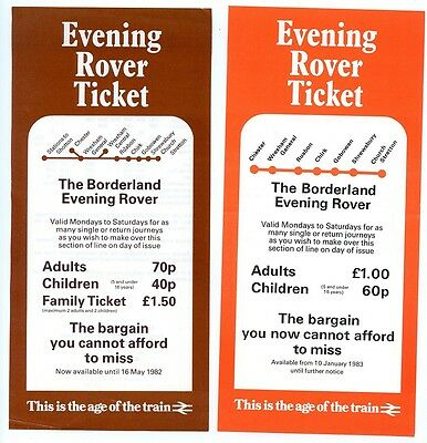 BRITISH RAIL: 2 X 'BORDERLAND EVENING ROVER' LEAFLETS, 1980s, N.WALES & BORDERS.