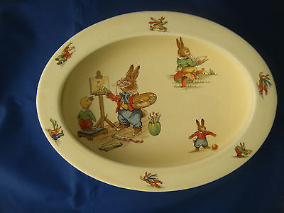 Royal Winton Bunny`s Playtime Rare Oval Childrens Bowl From The 1930`s