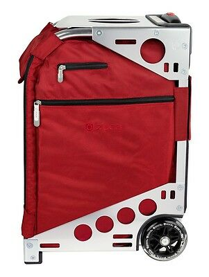 Zuca Professional Wheelie Case for Stenograph in Ruby Red With Silver Frame
