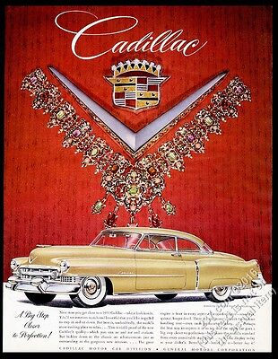 1951 Cadillac Coupe gold car vintage print ad
