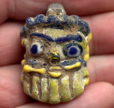 Ancient Phoenician Glass Face Head Pendant With Centuries Old Dirt