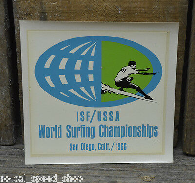 Original Vintage 1966 Surfing Championship Water Decal Surf Old Surfboard Woody