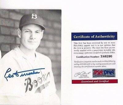 Leo Durocher Autographed Brooklyn Dodgers Baseball Rowe Postcard Photo PSA COA