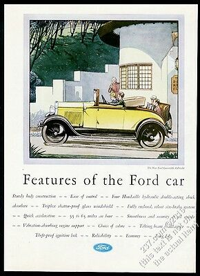 1929 Ford Model A Convertible Cabriolet yellow car art vintage print ad