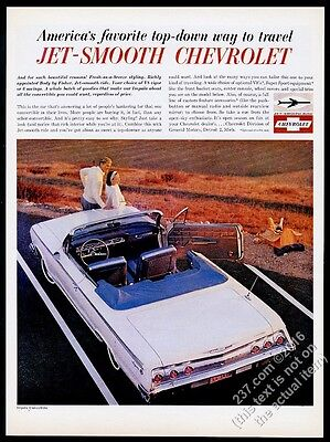 1962 Chevrolet Impala convertible white car photo vintage print ad