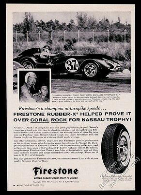 1959 Scarab Mk I Chevrolet Chuck Daigh Lance Reventlow photo Firestone tires ad