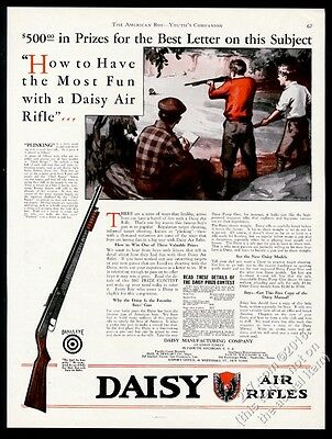 1930 Daisy Air Rifle boys shooting illustrated vintage print ad