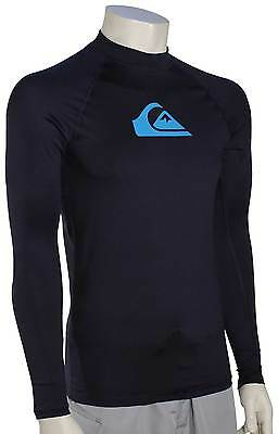 Quiksilver All Time LS Rash Guard - Navy / Blue Danube - New