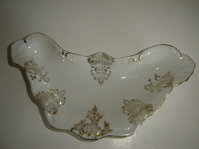 Vintage Numbered Dish White With Gold Trim Unique Shape Dish #6035