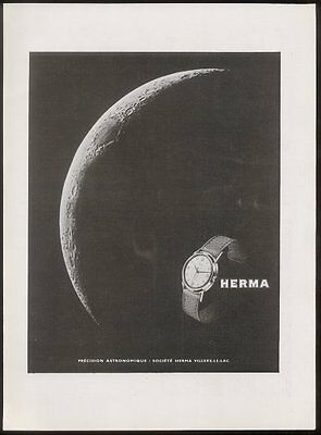 1948 Herma watch moon photo vintage French print ad