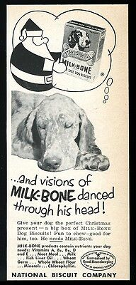 1952 English Setter photo Milk Bone dog biscuits Santa art vintage print ad