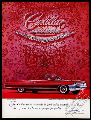 1961 Cadillac Sixty-Two convertible red car photo vintage print ad