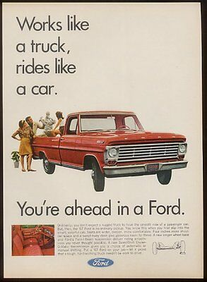 1967 Ford pickup pick-up red truck photo vintage print ad