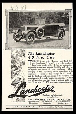 1923 Lanchester Forty 40hp open touring car photo vintage UK print ad