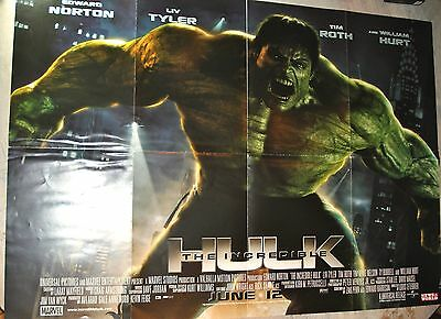 "Incredible HULK Film promo poster by NotW issued only at cinemas appx 23"" x 35"""