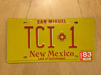 """New Mexico Vanity Auto License Plate """" Tci 1 """"  Ted Tom Tim Terry Ingle Isaacs"""