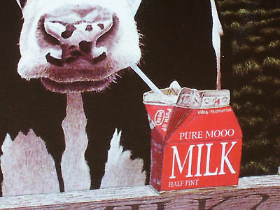 COW SIGN - GOT MILK ? Shows Dairy Cow Drinking a Carton of Milk --  UNUSUAL ITEM