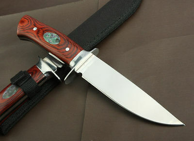 New Rose Wood Handle Survival Bowie Collect Hunting Knife Outdoor Sports Camping