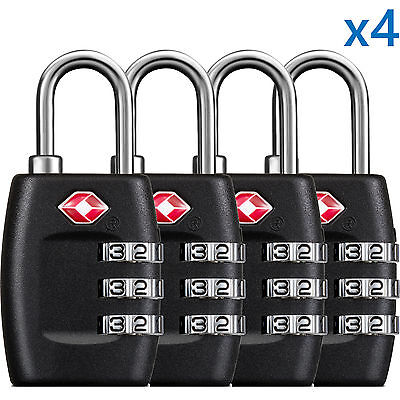 BG 4 x TSA Lock Travel Luggage 3 Digit Combination Resettable NEW TL01 (4 pcs)