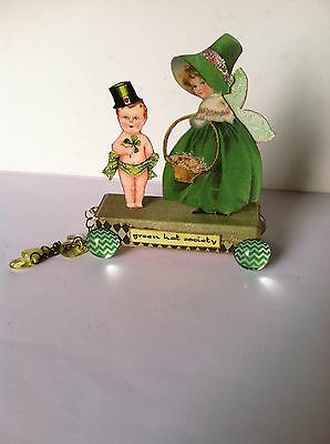 Altered art mixed media fairy block ST PADDY'S DAY vtg OOAK  original collage