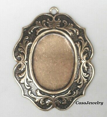 #4181 ANTIQUED GOLD 25x18 BORDERED PENDANT BEZEL W/TOP HANG RING - 2 Pc Lot