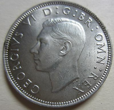 1944 UK (Great Britain) Silver Two Shillings Coin. UNC. NICE GRADE (W1620)