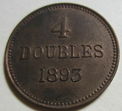 1893 Bailiwick of Jersey (Guernsey) Four DOUBLES Coin. BETTER GRADE (W1730)