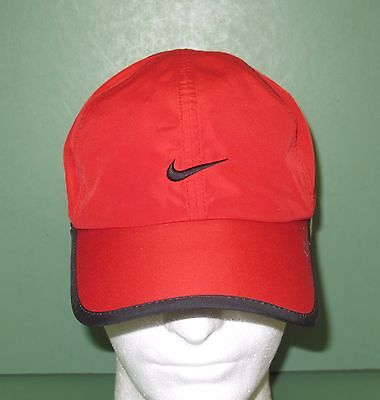 Nike Fit Running Baseball Style Hat Cap Mesh Adjustable Red & Black