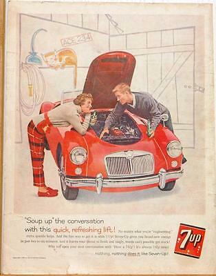 1960 7-Up Ad/ Red MGA with young couple
