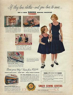 1951 Singer Sewing Ad/ Sisters back to school outfits/Great Art