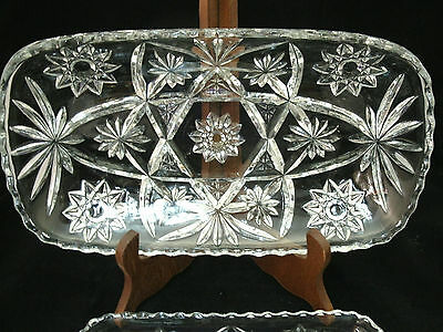 "Anchor Hocking PRESCUT 12"" Rectangular Tray & Divided Relish  EAPC Star of David"