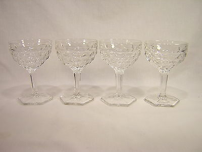 """4 Fostoria AMERICAN  5"""" Hex Footed Tall Sherbets ~ Lot 1"""