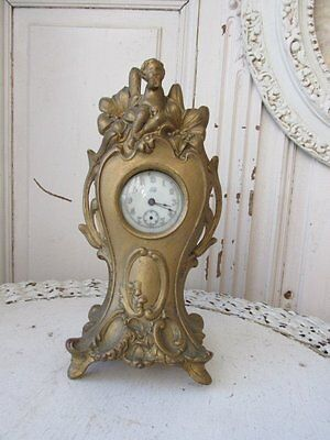 FABULOUS Old 1894 DECORATIVE Metal CLOCK Footed Cherub Flowers NON WORKING
