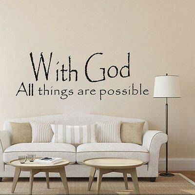 """Home Décor Vinyl Wall Sticker Creative Words """"with god all things are possible"""""""