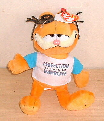 "Garfield Perfectly Lovable Beanie Babies Plush Toy with Tags (7"") NEW"