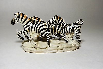 Vintage Signed Guido Cacciapuoti Italian Pottery Running Zebra Group No Reserve
