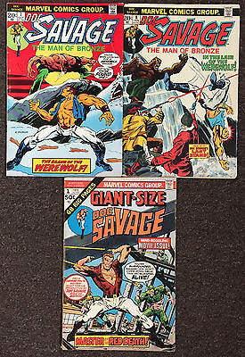 3 Doc Savage the Man of Bronze Lot 7 & 8 Giant Size 1 Marvel Comics