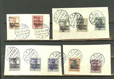 Poland: 1918 local issues: BRZEZINY, used on pieces (10 stamps)