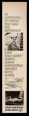 1964 Continental Airlines stewardess & plane at LAX airport photo print ad
