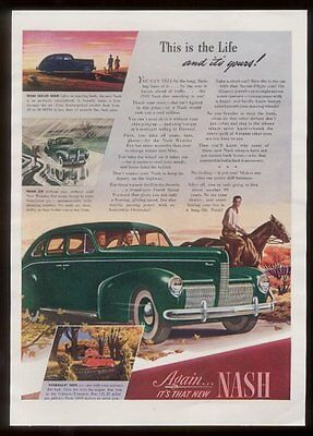 1940 Nash sedan green car cowboy art vintage print ad